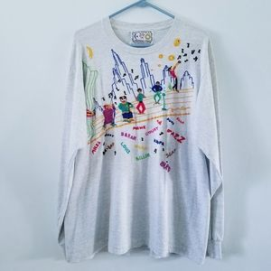 Vtg 90s hand embroidered Jazz long sleeve tee L